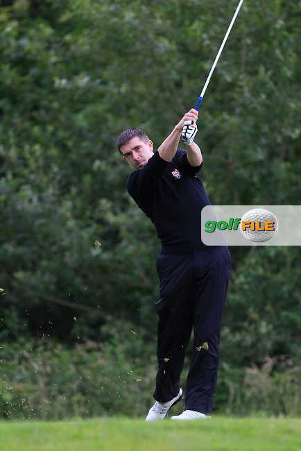 Jonathan Ryan (Ballybunion) on the 12th tee during the Semi-Finals of the Munster Bruen &amp; Shield Finals at East Clare Golf Club on Sunday 19th July 2015.<br /> Picture:  Golffile | Thos Caffrey All photo usage must carry mandatory copyright credit (&copy; Golffile | Thos Caffrey)