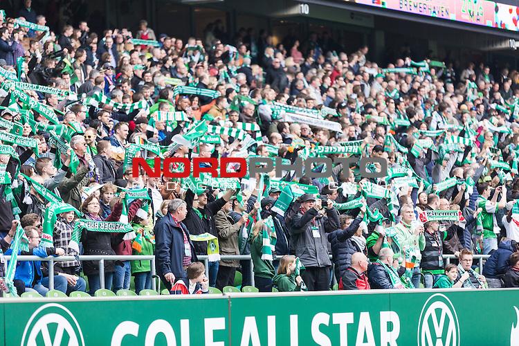 09.04.2016, Weser Stadion, Bremen, GER, 1.FBL, SV Werder Bremen vs FC Augsburg, im Bild Werder Bremen Fans Ostkurve Fanschals<br /> <br /> <br /> <br /> Foto &copy; nordphoto / Woratschka