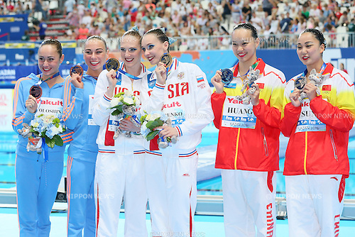 (L-R) Lolita Ananasova & Anna Voloshyna (UKR), Natalia Ishchenko & Svetlana Romashina (RUS), Xuechen Huang & Wenyan Sun (CHN), JULY 30, 2015 - Synchronised Swimming : 16th FINA World Championships Kazan 2015 Duets Free Routine Medal Ceremony  at Kazan Arena in Kazan, Russia. (Photo by Yohei Osada/AFLO SPORT)