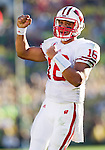 Wisconsin Badgers quarterback Russell Wilson (16) celebrates a touchdown during the 2012 Rose Bowl NCAA football game in Pasadena, California on January 2, 2012. The Ducks won 45-38. (Photo by David Stluka)