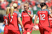 Portland, OR - Saturday August 05, 2017: Dagný Brynjarsdóttir celebrates Tyler Lussi's goal during a regular season National Women's Soccer League (NWSL) match between the Portland Thorns FC and the Houston Dash at Providence Park.