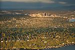 Aerial view of the Bellevue skyline at sunset with homes along Lake Washington