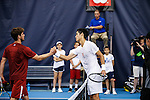 24 MAY 2016:  Oklahoma's Spencer Papa congratulates Thai-Son Kwiatkowski at the end of their match. The Division I Men's Tennis Championship is held at the Michael D. Case Tennis Center on the University of Tulsa campus in Tulsa, OK.  Virginia defeated Oklahoma for the national championship. Shane Bevel/NCAA Photos