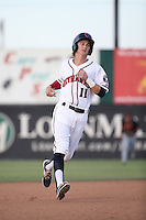 Johnny Sewald (11) of the Lancaster JetHawks runs the bases during a game against the Modesto Nuts at The Hanger on June 7, 2016 in Lancaster, California. Lancaster defeated Modesto, 3-2. (Larry Goren/Four Seam Images)