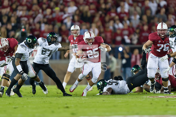 STANFORD, CA - NOVEMBER 12, 2011: Tyler Gaffney during the Stanford Cardinal 53-30 loss to Oregon.