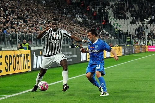02.04.2016. Juventus Stadium, Turin, Italy. Serie A Football. Juventus versus Empoli. Paul Pogba  and Mario Rui fight for the ball