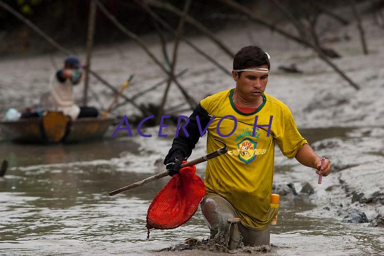 Entre raízes aéreas, enfiados na lama, pescadores artesanais capturam caranguejos nos manguezais do litoral, na foz do rio Amazonas. Os pescadores conseguem capturar cerca de 150 caranguejos por dia, comercializando o crustáceo a U$11 o cesto com 100 unidades.<br /> Bragança - Pará - Brasil <br /> Foto: Paulo Santos <br /> 16/02/2011