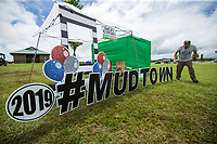 NWA Democrat-Gazette/BEN GOFF @NWABENGOFF<br /> Garret Krier, owner of Sign Gypsies Northwest Arkansas, sets up a sign Friday, June 7, 2019, at Ward Nail Park in Lowell. The park plays host to Lowell's annual Mudtown Days opening Friday evening and continuing from 10:30 a.m. to 10:00 p.m. Saturday with a wide variety of concerts and family activities.