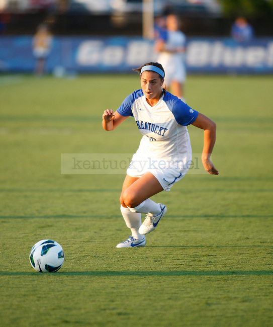 The UK Women's Soccer sophomore Molly Huber dribbles against Eastern Kentucky Colonels at UK Soccer Complex on Friday, Aug. 24, 2012. Photo by Scott Hannigan | Staff