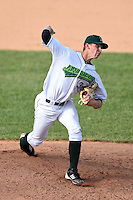 Jamestown Jammers pitcher Jerry Mulderig (34) delivers a pitch during a game against the Vermont Lake Monsters on July 13, 2014 at Russell Diethrick Park in Jamestown, New York.  Jamestown defeated Vermont 6-2.  (Mike Janes/Four Seam Images)