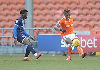 Blackpool's Armand Gnanduillet under pressure from Walsall's Aramide Oteh<br /> <br /> Photographer Kevin Barnes/CameraSport<br /> <br /> The EFL Sky Bet League One - Blackpool v Walsall - Saturday 9th February 2019 - Bloomfield Road - Blackpool<br /> <br /> World Copyright © 2019 CameraSport. All rights reserved. 43 Linden Ave. Countesthorpe. Leicester. England. LE8 5PG - Tel: +44 (0) 116 277 4147 - admin@camerasport.com - www.camerasport.com