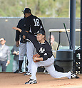 (L-R) Hiroki Kuroda, Masahiro Tanaka (Yankees),<br /> FEBRUARY 15, 2014 - MLB :<br /> Hiroki Kuroda and Masahiro Tanaka of the New York Yankees practice pitching in the bullpen during the New York Yankees spring training camp in Tampa, Florida, United States. (Photo by AFLO)