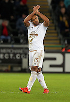 Wayne Routledge of Swansea thanks home supporters before getting substituted during the Barclays Premier League match between Swansea City and Watford at the Liberty Stadium, Swansea on January 18 2016