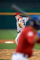 Syracuse Chiefs relief pitcher Chris Smith (35) delivers a pitch during a game against the Buffalo Bisons on July 6, 2018 at Coca-Cola Field in Buffalo, New York.  Buffalo defeated Syracuse 6-4.  (Mike Janes/Four Seam Images)