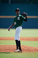 Antwan Walton (25) of Greensville County High School in Emporia, VA during the Perfect Game National Showcase at Hoover Metropolitan Stadium on June 20, 2020 in Hoover, Alabama. (Mike Janes/Four Seam Images)