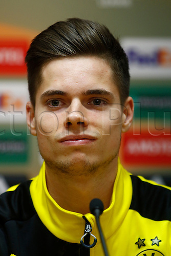 13.04.2016. Anfield, Liverpool, England. Europa League. Liverpool versus Borussia Dortmund Pre Match Press Conference and Training. Borussia Dortmund midfielder Julian Weigl speaking to the media at today's press conference at Anfield ahead of tomorrow night's second leg of the Europa Cup quarter final v Liverpool.