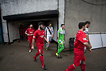 The players making their way from the changing rooms on to the pitch. City were looking for points in their bid to avoid relegation in their first season in League 2 after promotion from the Lowland League in 2015-16. The match ended 1-1, Josh Walker scoring for City, with Montrose equalising in the last minute, watched by a crowd of 346.