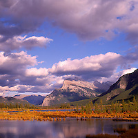 Mount Rundle (Elev 2,948 m / 9,672 ft) and the Vermilion Lakes near Banff, in Banff National Park, in the Canadian Rockies, Alberta, Canada, in Autumn