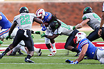 Southern Methodist Mustangs running back Ke'Mon Freeman (13) in action during the game between the North Texas Mean Green and the SMU Mustangs at the Gerald J. Ford Stadium in Fort Worth, Texas.