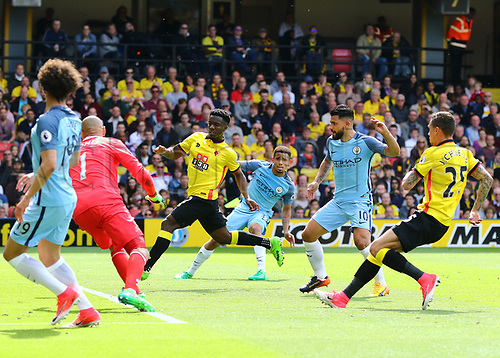 May 21st 2017, Vicarage Road, Watford, Herts, England; EPL Premier league football, Watford versus Manchester City; Leroy Sane of Manchester City squares the ball for Sergio Aguero of Manchester City to make it 0-3 in the 36th minute