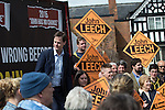 © Joel Goodman - 07973 332324 . 01/05/2015 . Manchester , UK . Nick Clegg (r) and John Leech (l) pose for pictures after a Liberal Democrat party rally at Chorlton-cum-Hardy Golf Club . Liberal Democrat party leader Nick Clegg visits the constituency of Manchester Withington to deliver a speech on the NHS and campaign with local candidate John Leech . Photo credit : Joel Goodman