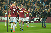Declan Rice of West Ham United celebrates with Marko Arnautovic of West Ham Unitedduring West Ham United vs Fulham, Premier League Football at The London Stadium on 22nd February 2019