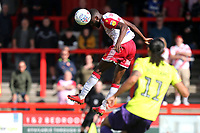 Emmanuel Sonupe of Stevenage gets his head to the ball from a corner during Stevenage vs Exeter City, Sky Bet EFL League 2 Football at the Lamex Stadium on 10th August 2019