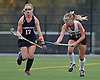 Garden City No. 28 Emily Clarke, right, bounces the ball on her stick as she moves downfield with Manhasset No. 17 Carina Lewandowski giving chase during the Nassau County varsity field hockey Class B final at Adelphi University on Sunday, November 1, 2015. Garden City won by a score of 9-0.<br /> <br /> James Escher