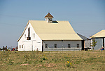 White barn with cupola in rural Okla.