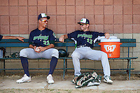 Vermont Lake Monsters Tyler Painton (22) and Derek Beasley (13) in the bullpen before a game against the Auburn Doubledays on July 13, 2016 at Falcon Park in Auburn, New York.  Auburn defeated Vermont 8-4.  (Mike Janes/Four Seam Images)