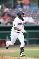 B.J. Boyd (23) of the Inland Empire 66ers during a game against the Stockton Ports at San Manuel Stadium on June 28, 2015 in San Bernardino, California. Stockton defeated Inland Empire, 4-1. (Larry Goren/Four Seam Images)