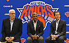 Phil Jackson, President of the New York Knicks, left, sits alongside general manager Steve Mills, center, and head coach Jeff Hornacek during a news conference at Madsion Square Garden Training Center in Greenburgh, NY on Friday, July 8, 2016.