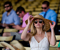 BALTIMORE, MD - MAY 19: A woman shows off her stylish hat on Black-Eyed Susan Day at Pimlico Race Course on May 19, 2017 in Baltimore, Maryland.(Photo by Scott Serio/Eclipse Sportswire/Getty Images)