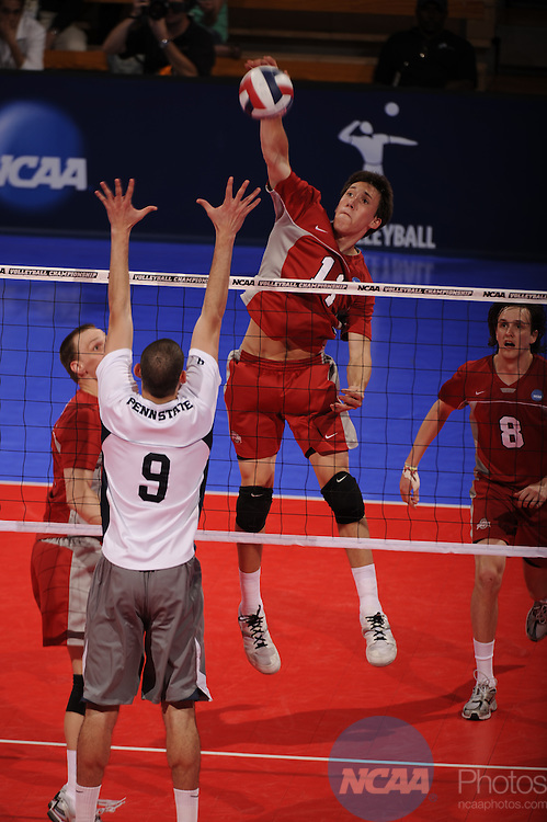 01 MAY 2008: Ted Schoenfeldt (11)  of Ohio State University hits a shot against Penn State University during the Division I Men?s Volleyball Semifinals held at the Bren Events Center on the University of California-Irvine campus in Irvine, CA.  Penn State defeated Ohio State 3-1 to advance to the national title game.  Matt Brown/NCAA Photos..