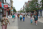 Crowds of people in main shopping street of Lowestoft, Suffolk, England