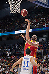 Marc Gasol of Spain and Eloy Vargas of Dominican Republic during the Friendly match between Spain and Dominican Republic at WiZink Center in Madrid, Spain. August 22, 2019. (ALTERPHOTOS/A. Perez Meca)