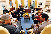 United States President Bill Clinton meets with representatives from several gay and lesbian organizations in the Oval Office of the White House in Washington, DC on April 16, 1993.   Seated from left to right: Keith Boykin, White House Office of Communications; Bob Hattoy, White House Office of Personnel; Tim McFeeley, Human Rights Campaign Fund; Tom Stoddard, Campaign for Military Service; Alexis Herman, White House Office of Public Liaison; President Clinton; Phill<br /> Wilson, Black Gay &amp; Lesbian Leadership Forum; Torie Osborn,<br /> National Gay &amp; Lesbian Task Force;  Andrew Barrer, Coalition '93;<br /> Nadine Smith, March on Washington Committee; Bilry Hileman, March<br /> on Washington Committee; and William Waybourne, Gay &amp; Lesbian Victory Fund.<br /> Credit: White House via CNP