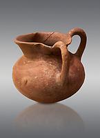 Hittite terra cotta two handled pitcher. Hittite Period, 1600 - 1200 BC.  Hattusa Boğazkale. Çorum Archaeological Museum, Corum, Turkey