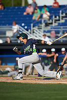 Vermont Lake Monsters outfielder Steven Pallares (14) at bat during a game against the Batavia Muckdogs August 9, 2015 at Dwyer Stadium in Batavia, New York.  Vermont defeated Batavia 11-5.  (Mike Janes/Four Seam Images)