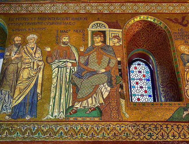 Medieval Byzantine style mosaics of St Peter & Paul & Emperor Nero, Palatine Chapel, Cappella Palatina, Palermo, Italy