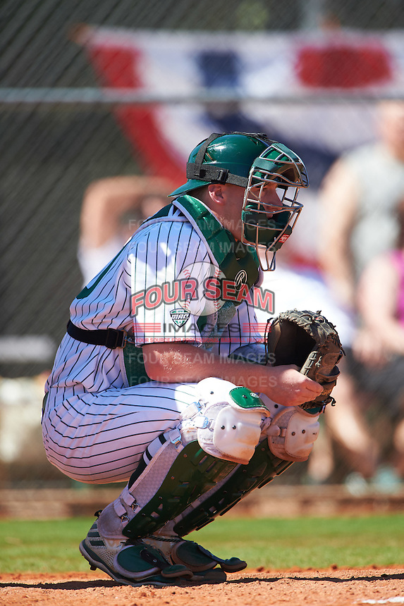 Eastern Michigan Eagles catcher Jeremy Stidham (50) during a game against the Dartmouth Big Green on February 25, 2017 at North Charlotte Regional Park in Port Charlotte, Florida.  Dartmouth defeated Eastern Michigan 8-4.  (Mike Janes/Four Seam Images)