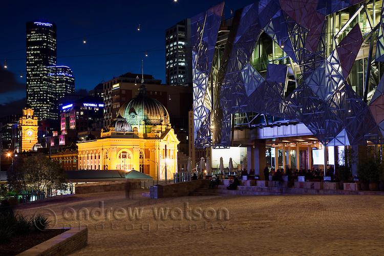 Federation Square by night in Melbourne, Victoria, AUSTRALIA.
