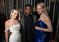 Margot Robbie, Chadwick Boseman and Nicole Kidman pose backstage during the live ABC Telecast of The 90th Oscars&reg; at the Dolby&reg; Theatre in Hollywood, CA on Sunday, March 4, 2018.<br /> *Editorial Use Only*<br /> CAP/PLF/AMPAS<br /> Supplied by Capital Pictures