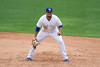 Dunedin Blue Jays first baseman Rowdy Tellez (8) during the first game of a doubleheader against the Palm Beach Cardinals on July 31, 2015 at Florida Auto Exchange Stadium in Dunedin, Florida.  Dunedin defeated Palm Beach 7-0.  (Mike Janes/Four Seam Images)