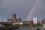 Anglican Cathedral Liverpool with Rainbow after a storm
