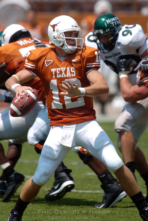 02 September 2006: University of Texas quarterback Colt McCoy drops back for a pass during the Longhorns 56-7 victory over the University of North Texas at Darrell K Royal Memorial Stadium in Austin, TX.