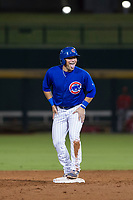 AZL Cubs third baseman Cam Balego (82) laughs with his teammates after falling on the basepaths against the AZL Angels on August 31, 2017 at Sloan Park in Mesa, Arizona. AZL Cubs defeated the AZL Angels 9-2. (Zachary Lucy/Four Seam Images)