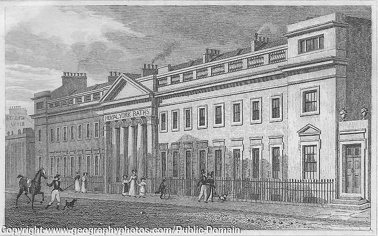 Royal York Baths, Regent's Park, engraving from 'Metropolitan Improvements, or London in the Nineteenth Century', England, UK 1828 , drawn by Thomas H Shepherd