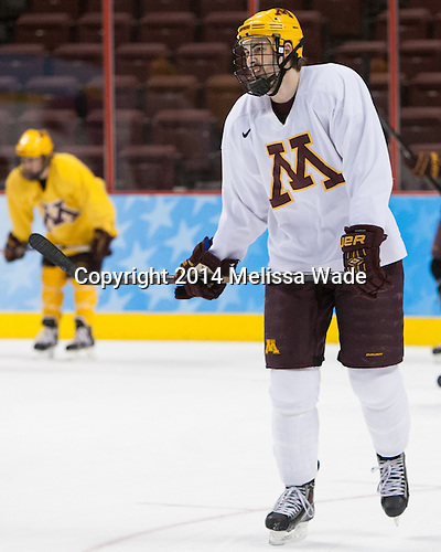 Justin Holl (MN - 12) - The University of Minnesota Golden Gophers took part in a press conference and practice on Friday, April 11, 2014, during the 2014 Frozen Four at the Wells Fargo Center in Philadelphia, Pennsylvania.