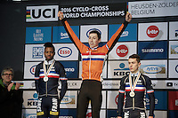 Junior Men's race podium:<br /> 1/ Jens Dekker (NED) <br /> 2/ Mickael Crispin (FRA) <br /> 3/ Thomas Bonnet (FRA)<br /> <br /> UCI 2016 cyclocross World Championships